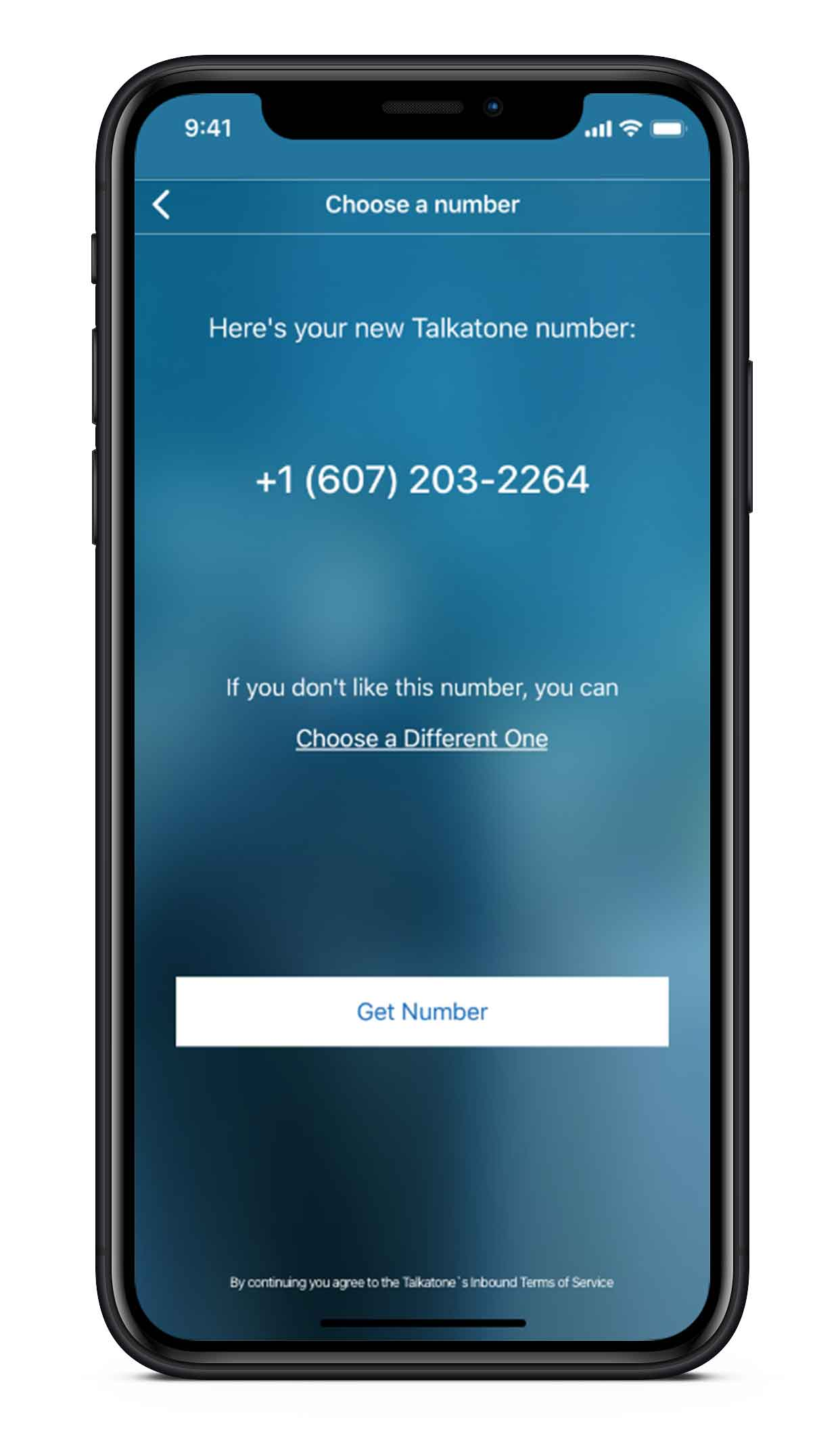 Get a US phone number no charges, no fees image - screen on mobile phone