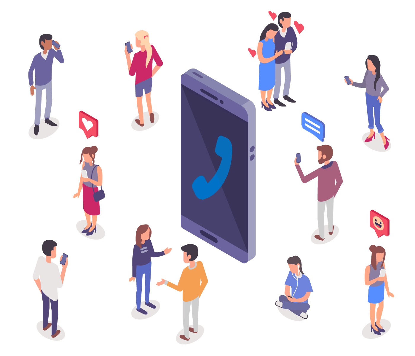 Free WiFi Calling and Texting App - Illustration of mobile phone in middle with Talkatone logo surrounded by people making calls and texting activities